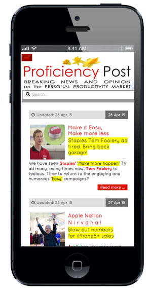 Proficiency Post website on iPhone