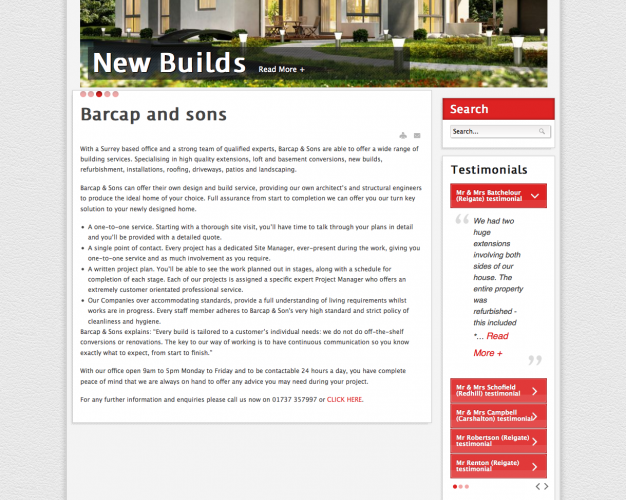 Barcap and sons webpage