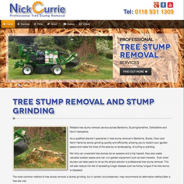 Nick Currie stump grinding website
